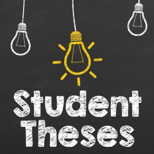 Three dangling light bulbs with one shining yellow and the words Student Theses