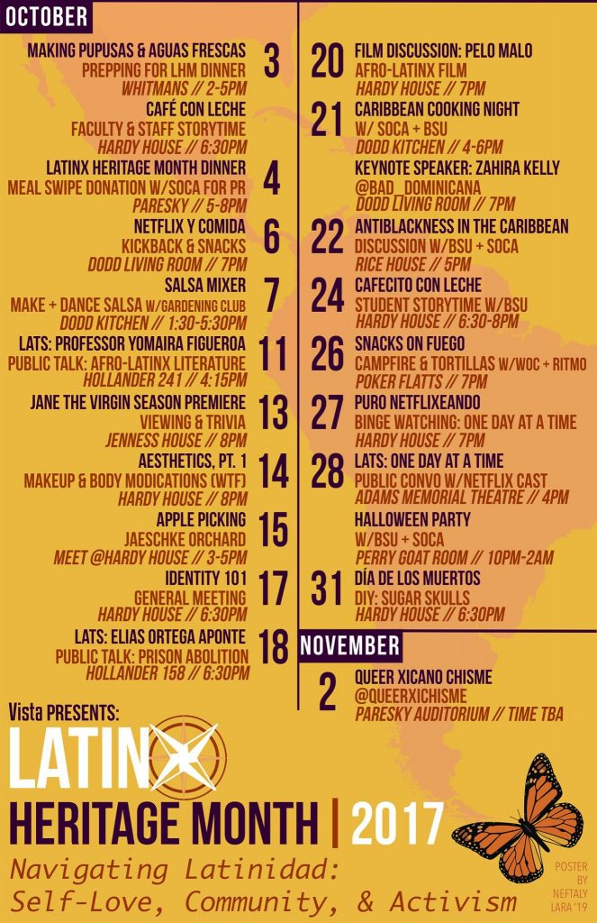 Poster listing events in celebration of Latinx Heritage Month, 2017