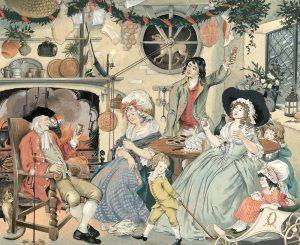 Christmas family scene by Pauline Baynes