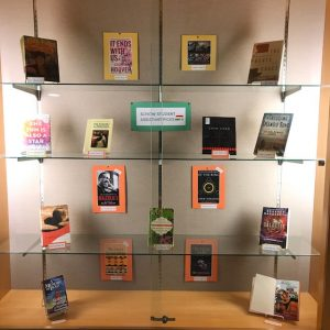 Photo of the Schow display case, filled with books.