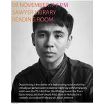 Promotional poster for 11/9 reading by Ocean Vuong. 7:00 p.m. Sawyer Reading Room.