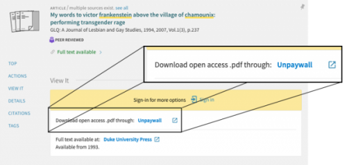 Screenshot of unpaywall link in library catalog