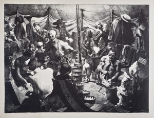 Clown Alley lithograph by Robert Riggs