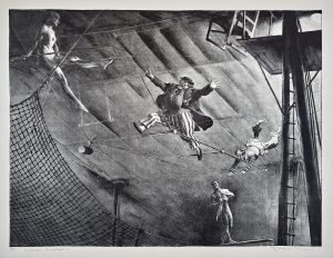 Clown Acrobats lithograph by Robert Riggs