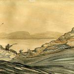 ink painting of fishermen