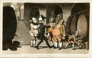 Doctor Syntax Made Free of the Cellar, lithograph by Thomas Rowlandson
