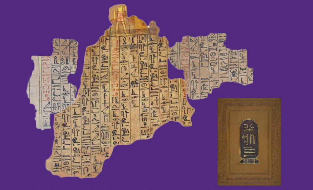 Three fragments of papyrus with hieroglyphic text, digitally reunited, and a 19th-century leather album cover