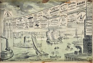 Joseph Keppler Brooklyn Bridge lithograph for Puck