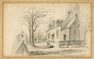 Burke's Head Quarters graphite drawing Virginia